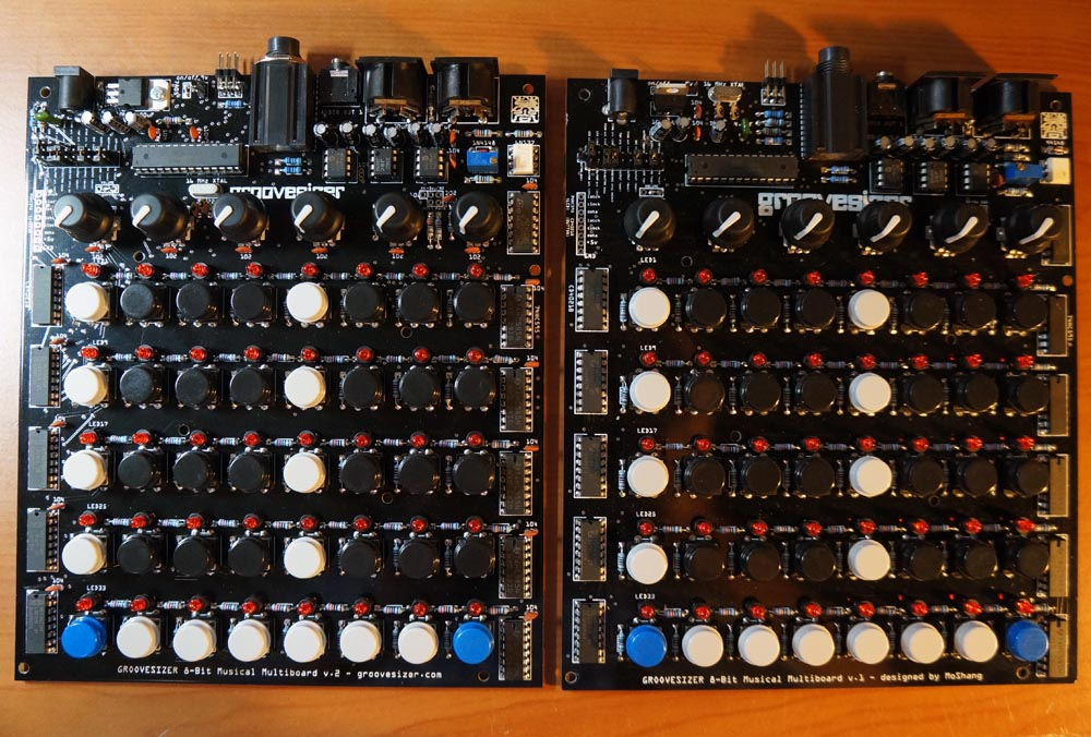 V2 multiboard on the left, V1 on the right.